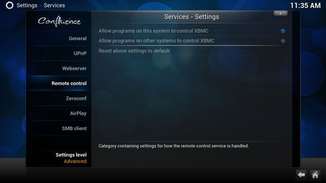 XBMC Remote Control Settings