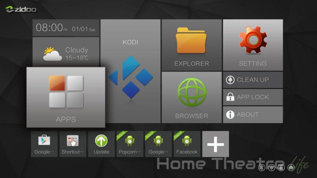 Zidoo-X6-Android-Home