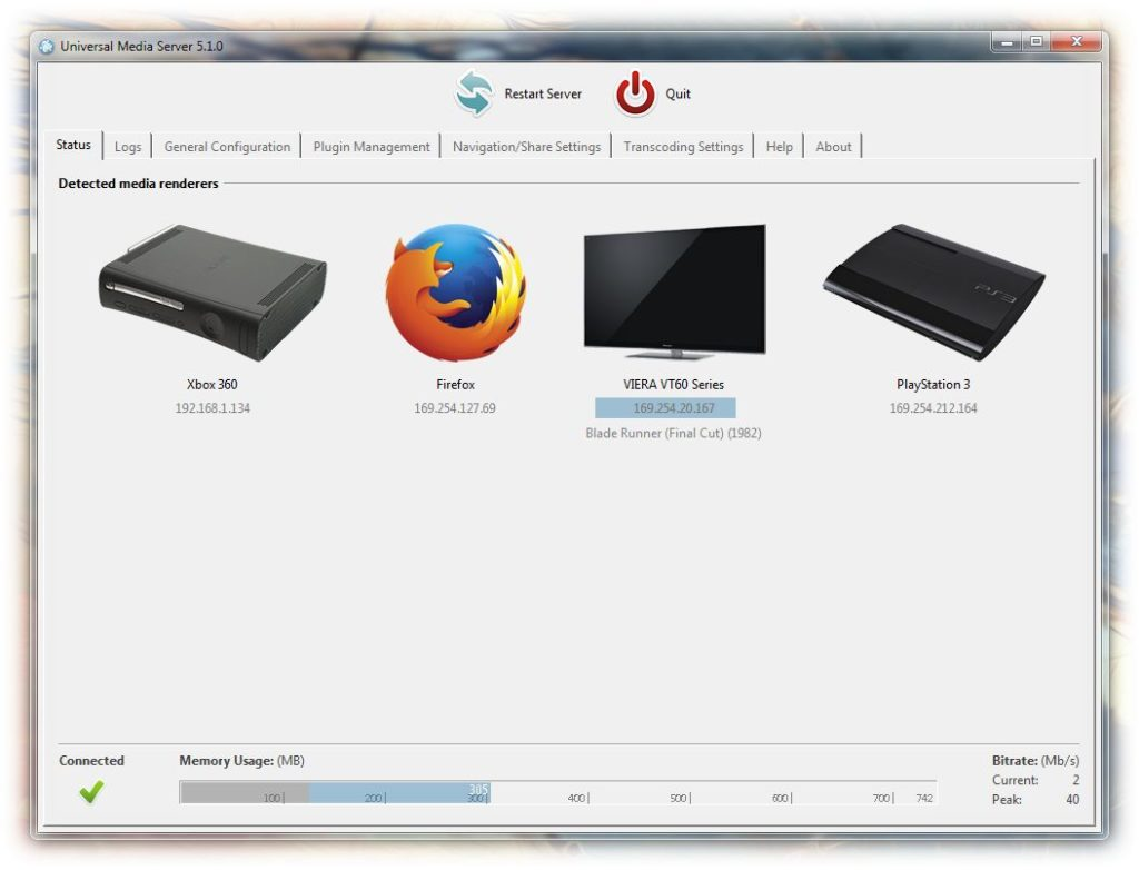 Best DLNA Media Server Software: Universal Media Server DLNA Server Screenshot