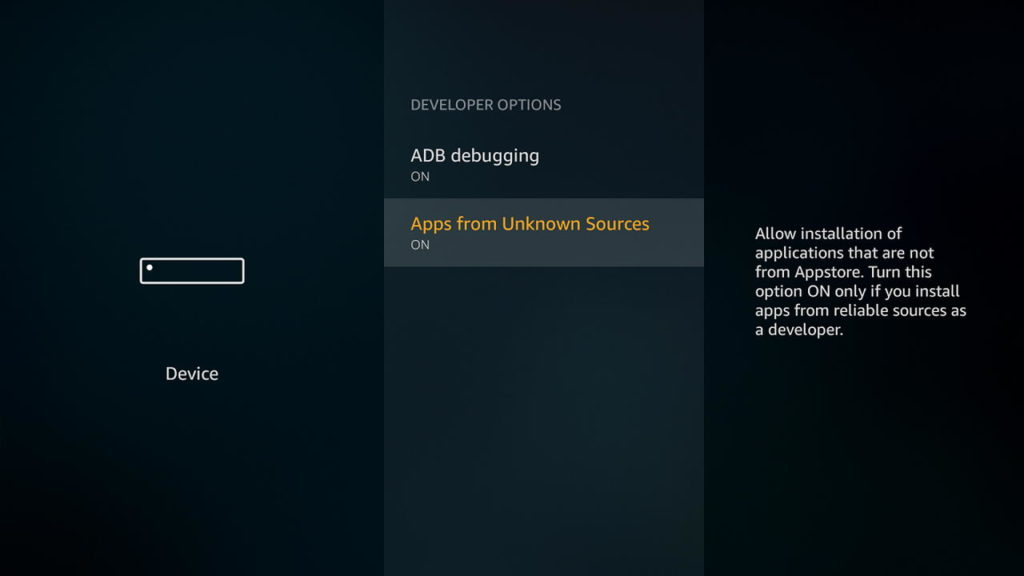 Amazon Fire TV Enable Unknown Sources