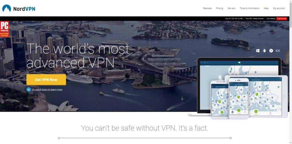 Best VPN for Android TV Boxes: NordVPN Website Screenshot