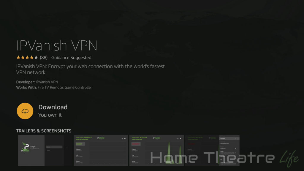 How to Install VPN on Firestick: IPVanish App Store Page